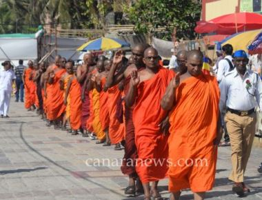 Buddhist monk line up near Chaityabhumi to pay homage to Dr. B. R. Ambedkar at Dadar in Mumbai.