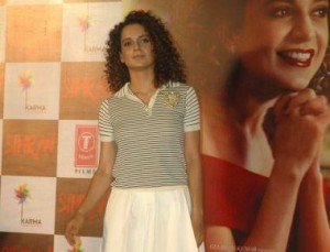 Kangana Ranaut with Film Director Hansal Mehta and Producer Bhushan Kumar during the trailer launch of their Film Simran