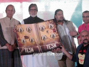 Amitabh Bachchan, Music composer Vishal Dadlani &  filmmaker Ribhu Dasgupta during the music launch of film Te3n in Mumbai
