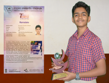 Krish Pandey of Class VIII, Little Rock Indian School, honoured with the Inspire Awards for Fake Document Classifier which ties into Digital India's visions