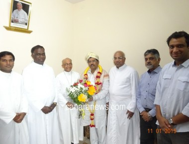 Home Minister Dr G Parameshwara Meets Bangalore Archbishop on 1st November, 2015