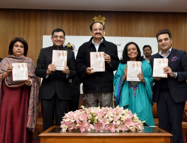 """VP Naidu Releases the book """"Turbulence and Triumph – The Modi Years"""" by Om Books International"""