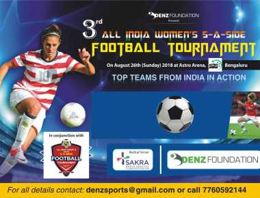 Women's football tournament on August 26 in Bengaluru