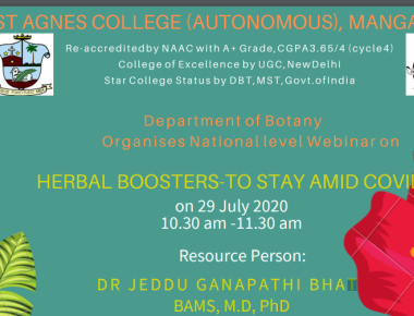 BOTANY WEBINAR ON 'HERBAL BOOSTERS- TO STAY AMID COVID 19'