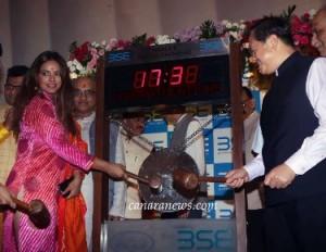 Mr. Ashish Chauhan, CEO - BSE & actress Neetu Chandra ring a gong to begin muhurat trading during Diwali at BSE, Mumbai.