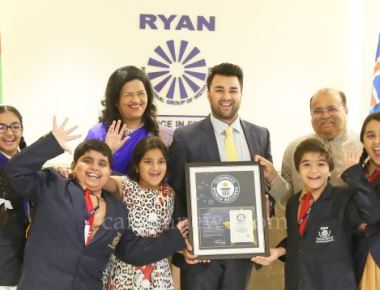 Dr. A. F. Pinto, Chairman, Madam Grace Pinto, MD and Mr. Ryan Pinto, CEO  Celebrating the GUINNESS WORLD RECORDS recognition with young Ryanites