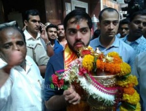 Mr. Anant Ambani along with IPL Trophy after winning IPL final match by Mumbai Indian team offer at Siddhiviyak Temple in Mumbai.