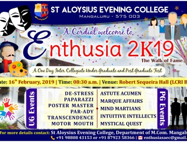 St Aloysius Evening College to Hold 'ENTHUSIA 2k19' on 16th Feb