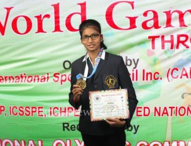 Aditi Salian won gold medal for india in tennis volleyball tournament