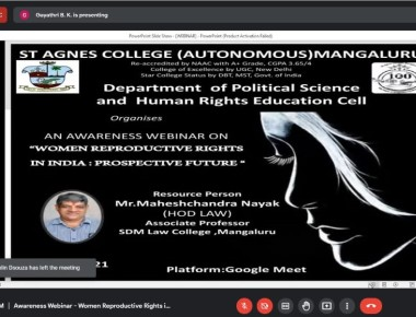 Mangaluru: St Agnes College conducts 'Awareness on Women Reproductive Rights in India : Prospective Future' webinar