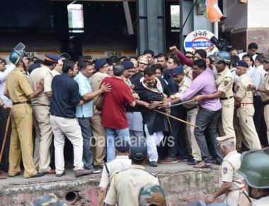 Congress Leaders at Andheri Station for Rail Roko during  Bharat Bandh in Mumbai.