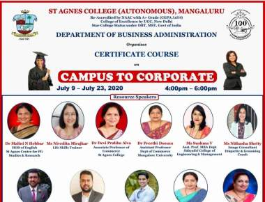 ST AGNES COLLEGE ORGANISED AN ONLINE CERTIFICATE COURSE ON CAMPUS TO CORPORATE