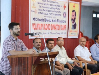 Blood Donation Camp held at St Philomena College Puttur