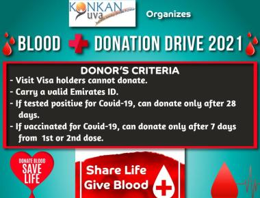 Konkan Yuva Dubai to hold Blood Donation Drive – 2021 on May 6.