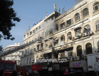 Mumbai: Smoke  after a major fire at building on the Colaba Causeway in south Mumbai on Thursday