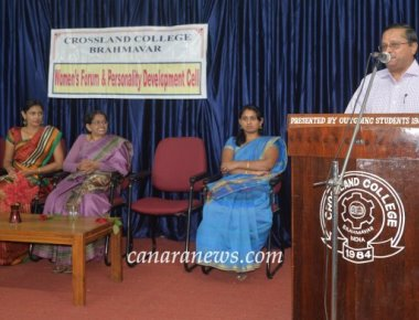 Crossland College, Brahmavar presented  Mrs. Manasi Sudheer and  Mrs. Jayashree Bhat on thier achivement  on women's day