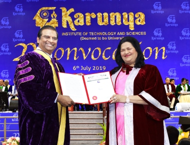 Madam Grace Pinto, MD, Ryan Group of Institutions received a doctorate degree from Karunya Institute of technology and science, Tamil Nadu