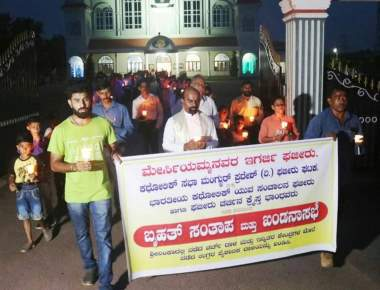 Our Lady of Mercy Church Fajir organises Candle Light Prayer Service with a protest march