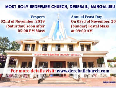 Annual Feast of Most Holy Redeemer Church, Derebail to be celebrated on November 03