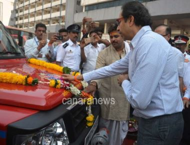 Uddhav Thackeray during the launch of New Fire Brigade Vehicle in Mumbai
