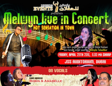 Melwyn live in Concert with Global Konkani Awardee singer Kum. Akshada on 29 April
