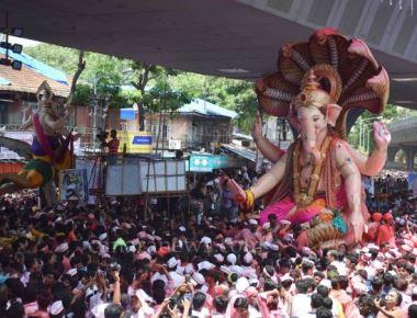 Ganesh Idol Immersion procession rally at Lalbaug