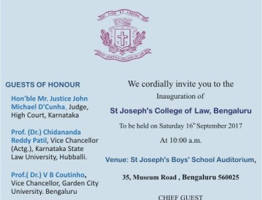 Inauguration of St. Joseph's College of Law, Bengaluru