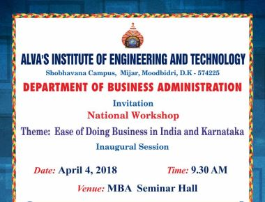 Workship on ease of doing business in India and Karnataka at Alva's MBA Department