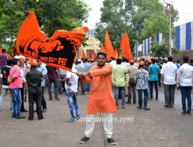 Maratha Kranti Morcha activists protest in favour of Maratha reservations