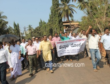 Ambalpady residents against the NH 66 work and demand under pass over National Highway