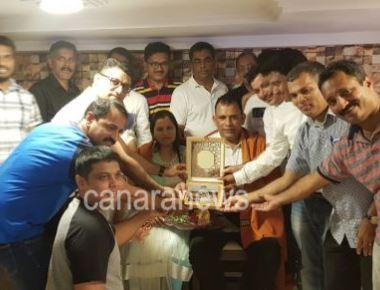 Namma Kundapra Balaga felicitates Aryabhata Awardee Dinesh Devadiga in Sharjah