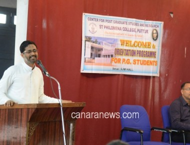 Orientation Programme to PG Students at St Philomena College Puttur