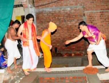"Installation of ""NIDHIKUMBHA"" by Pejawara Shri  Vishvesha Theertha Swamiji"