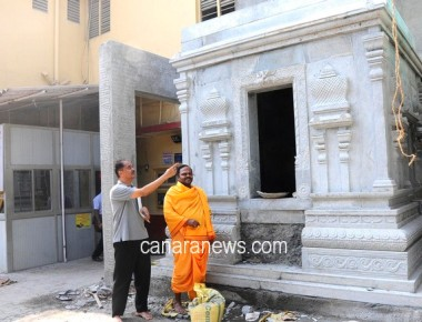 Mumbai: The construction work of Stone temple at Pejarawara Mutt is in full swing