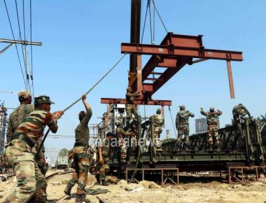 Railway Foot Over Bridge (FOB) launched by Indian Army at Elphinstone Road Railway Station in Mumbai