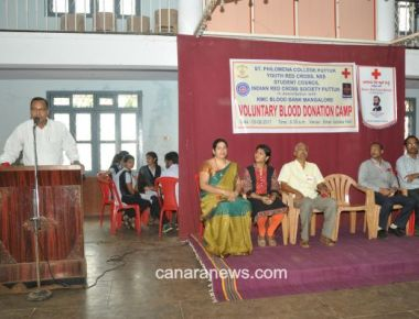 Voluntary Blood Donation Camp held at St Philomena College Puttur