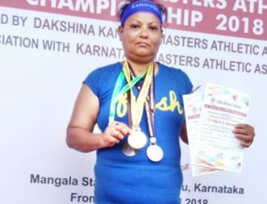 38th National Masters Athletic Champions-2018 : Surekha Hemanth Devadiga Won Silver Medal