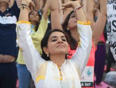 International Day of Yoga organised by I Love Mumbai, at Marine Drive in Mumbai on Wednesday.