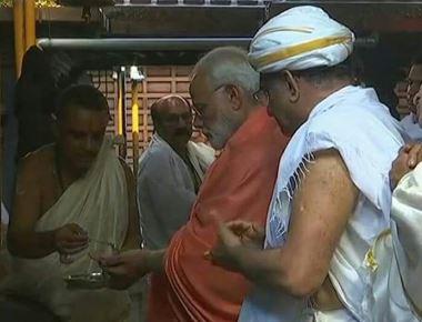 Modi offers prayers in Karnataka's Dharmasthala temple