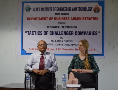 Technical Session at Alva's on 'Tactics of Challenger Companies' by Ms. Laura Cairns, Management Consultant, KPMG, London.