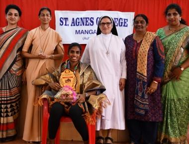 St Agnes College felicitates Poovamma