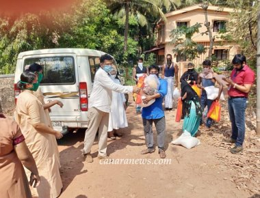St Agnes College distributing ration kits to the migrants and homeless families in different places of Mangalore