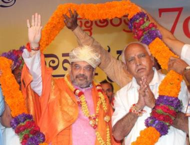 BJP supporters jubilant as Amit Shah says Yeddyurappa is CM in-waiting