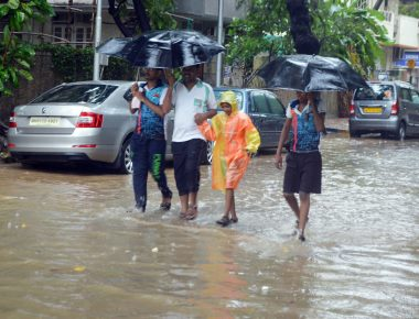 Water logging is seen due to rain near Mayor Bungalow in Dadar.