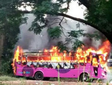 New tourist bus catches fire accidentally