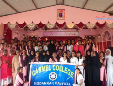 Carmel College holds service activity at Jeevadan, Gurpur