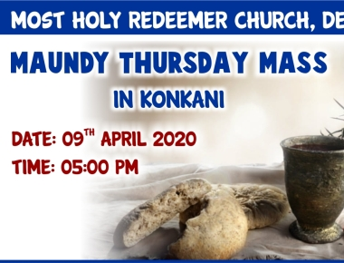 Maundy Thursday Mass in Konkani (09-04-2020) from Most Holy Redeemer Church, Derebail