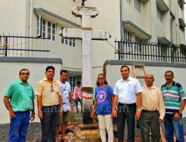 Century year old Holy Cross at Mahim removed & Relocated by Christian community for Road widening