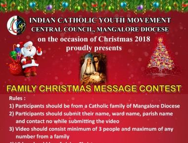ICYM Mangalore Diocese on the occasion of Christmas 2018  proudly presents Family Christmas Message Contest