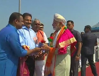 PM Narendra Modi arrives in Mangaluru